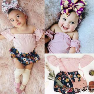 ✪B-BToddler Infant Baby Girl Summer Clothes Floral Clothing 2Pcs Set
