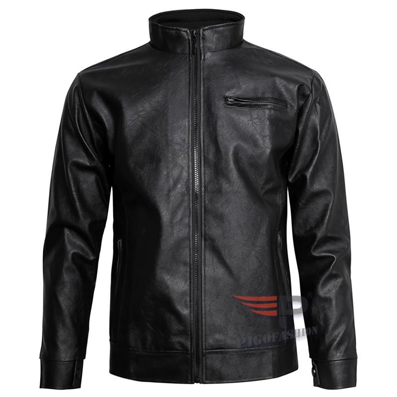 Áo Khoác da nam Leather lót dù thu đông PIGO cao cấp PAD16 - Đen