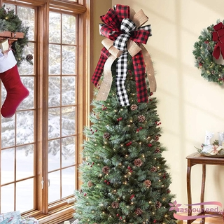 AyD-Christmas Tree Topper, Rustic Buffalo Plaid Decorative Bow for Holiday Home Party Décor