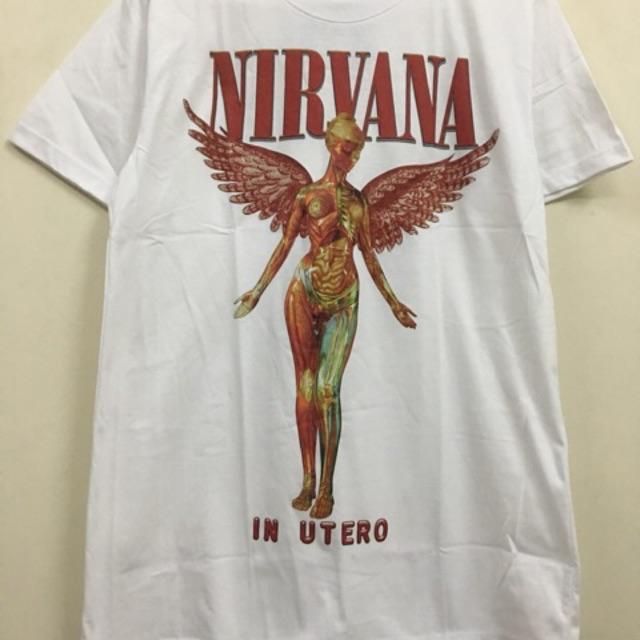Áo Nirvana In Utero trắng còn size M