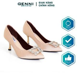 Giày cao gót lụa gắn đá 4P GE455 - Genni