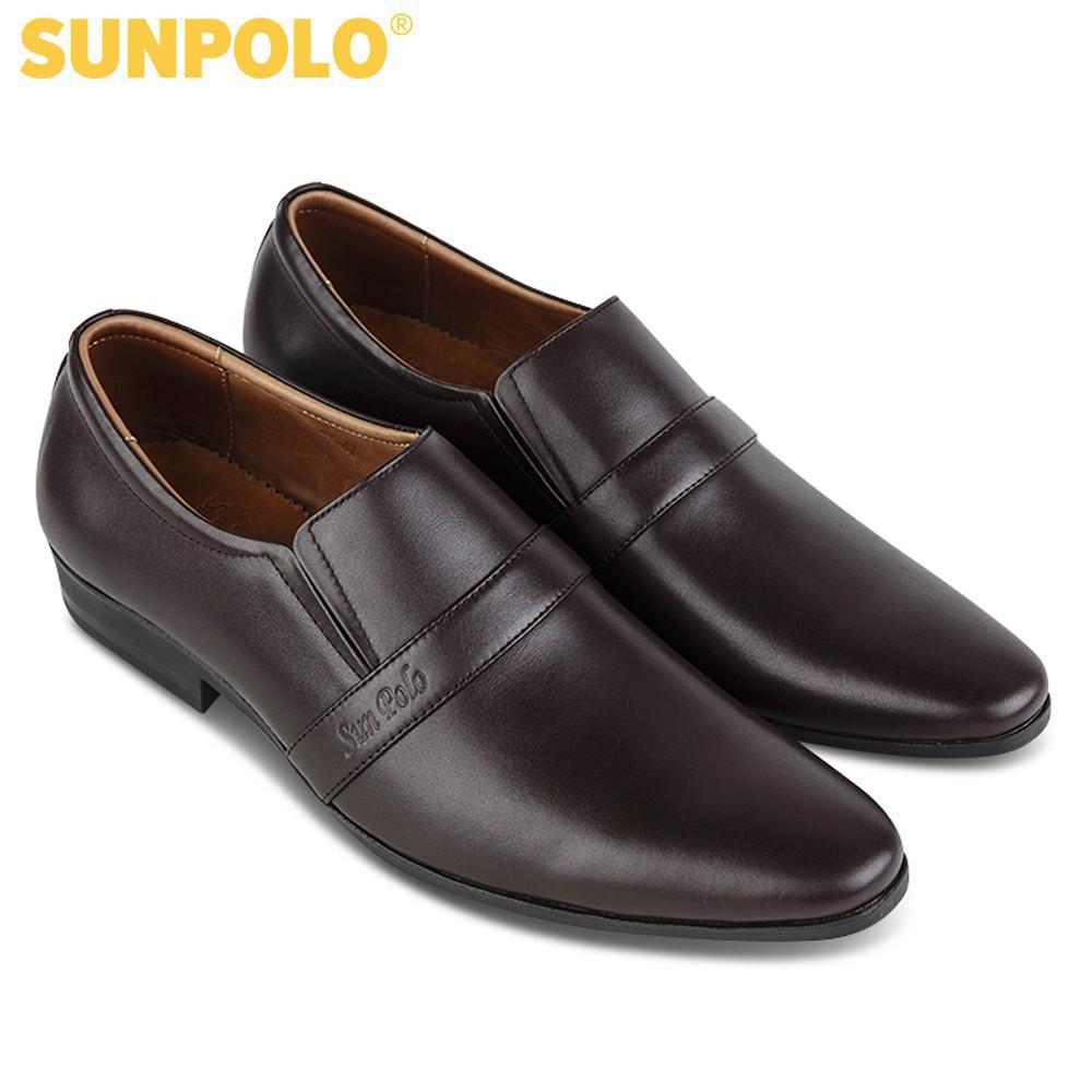 [Sale 3/3]Giày Tây Nam Da Bò SUNPOLO Đen Nâu - SUMU07DN -x13