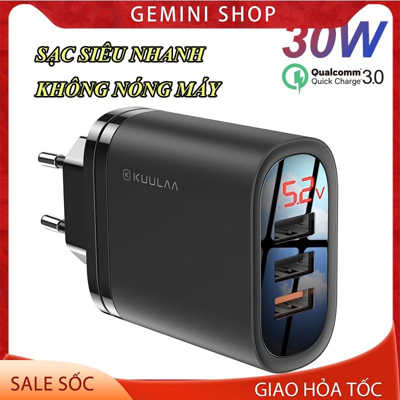 Cốc Sạc Nhanh 3 Cổng USB QC3.0 KuuLaa 30W dành cho Xiaomi Iphone Huawei OPPO Củ sạc nhanh PD30W GEMINI SHOP