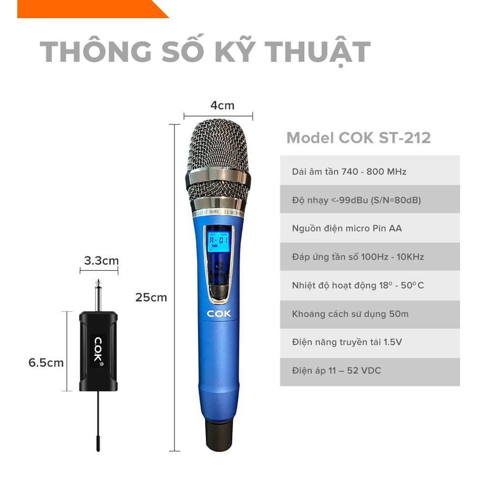 [Mã 2404EL10K giảm 10K đơn 20K] Micro không dây COK ST-212 Hàng mới 100% chính hãng bảo hành 6 tháng