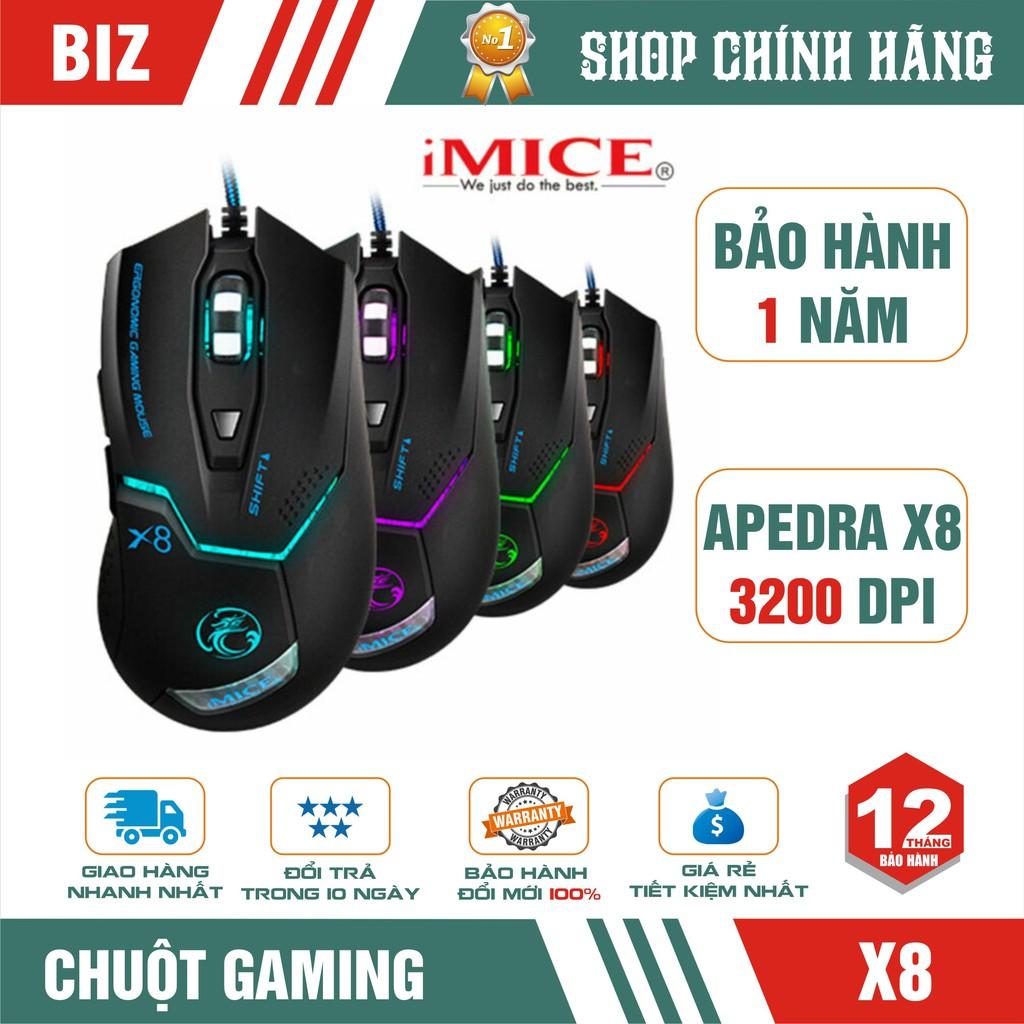 Chuột gaming có dây chuyên game IMICE X8 - Led đổi màu cực đẹp - Up to 3200 DPI