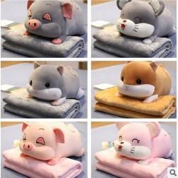 (Tặng 1 móc dán chịu lực)Chăn gối văn phòng chuột Hamster, Chuột xinh, Heo xinh. Gấu bông đẹp cho bé yêu