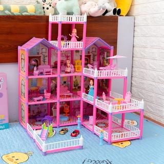 Đồ Chơi Lắp Ráp Ngôi Nhà Búp Bê - Biệt Thự Barbie nhiều tầng Kích thước Lớn Dễ Thương cho bé gái thumbnail
