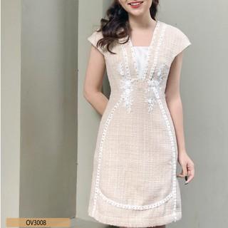 Đầm dạ teck tay ngắn ôm A cổ V OLLY_OV3008 thumbnail