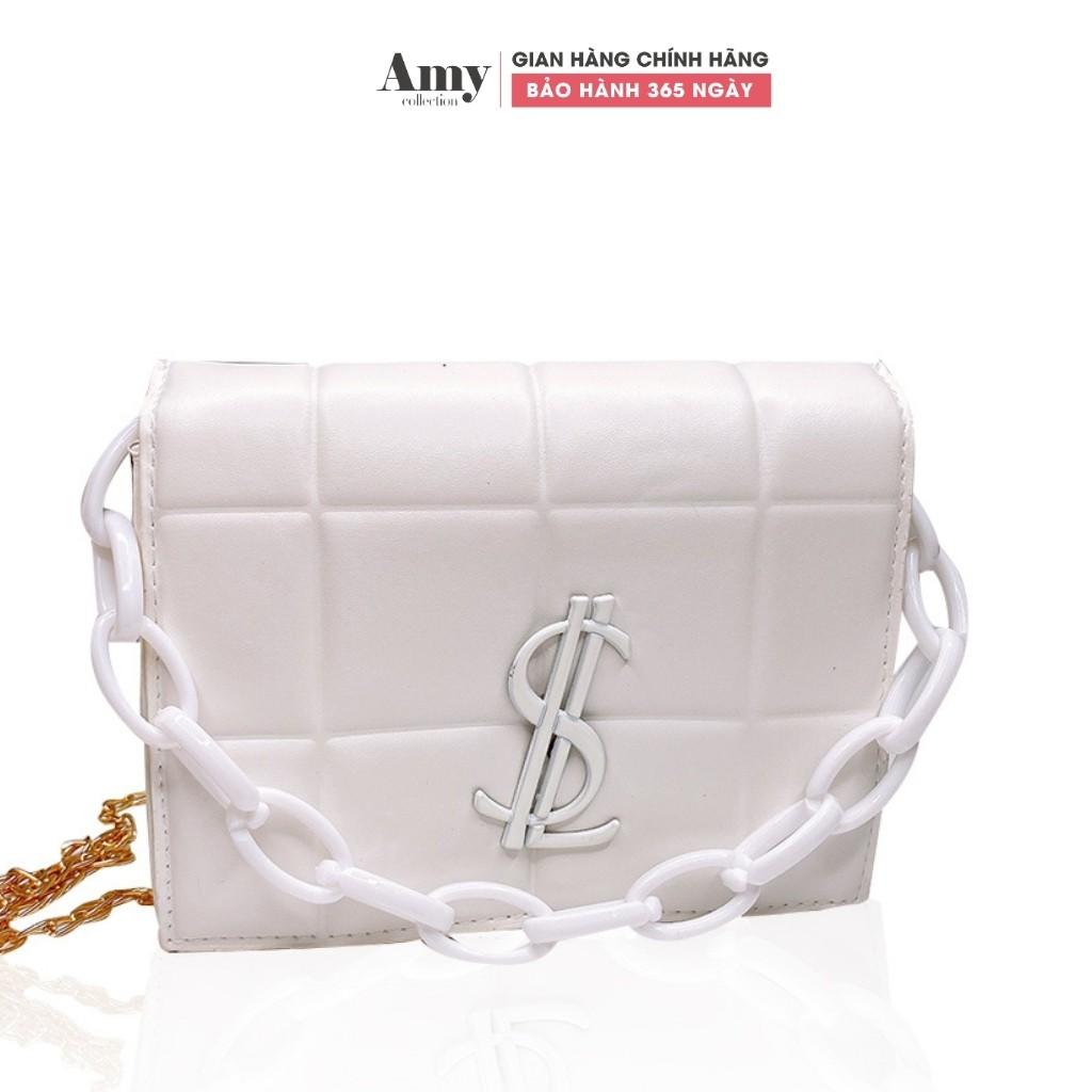 Túi đeo chéo nữ dáng vuông dây xích chỉ viền hình vuông TX01415 TX798