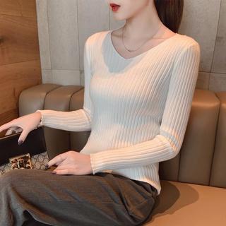 OT Slim-fit Sweater Tight-fitting Long-sleeved V-neck