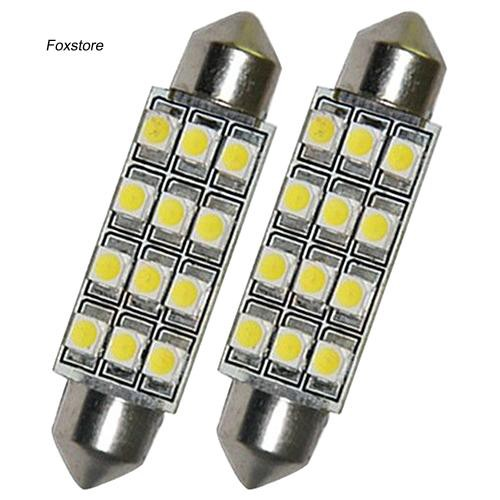 FXTE_2 Pcs Car Dome 12 3528-SMD LED Bulb Light Interior Festoon Lamp 42mm White