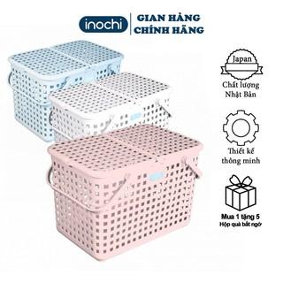 Giỏ đựng quần áo ,làn đi sinh inochi TOKYO đựng đồ đi sinh có nắp nhựa cho mẹ và bé tiện dụng