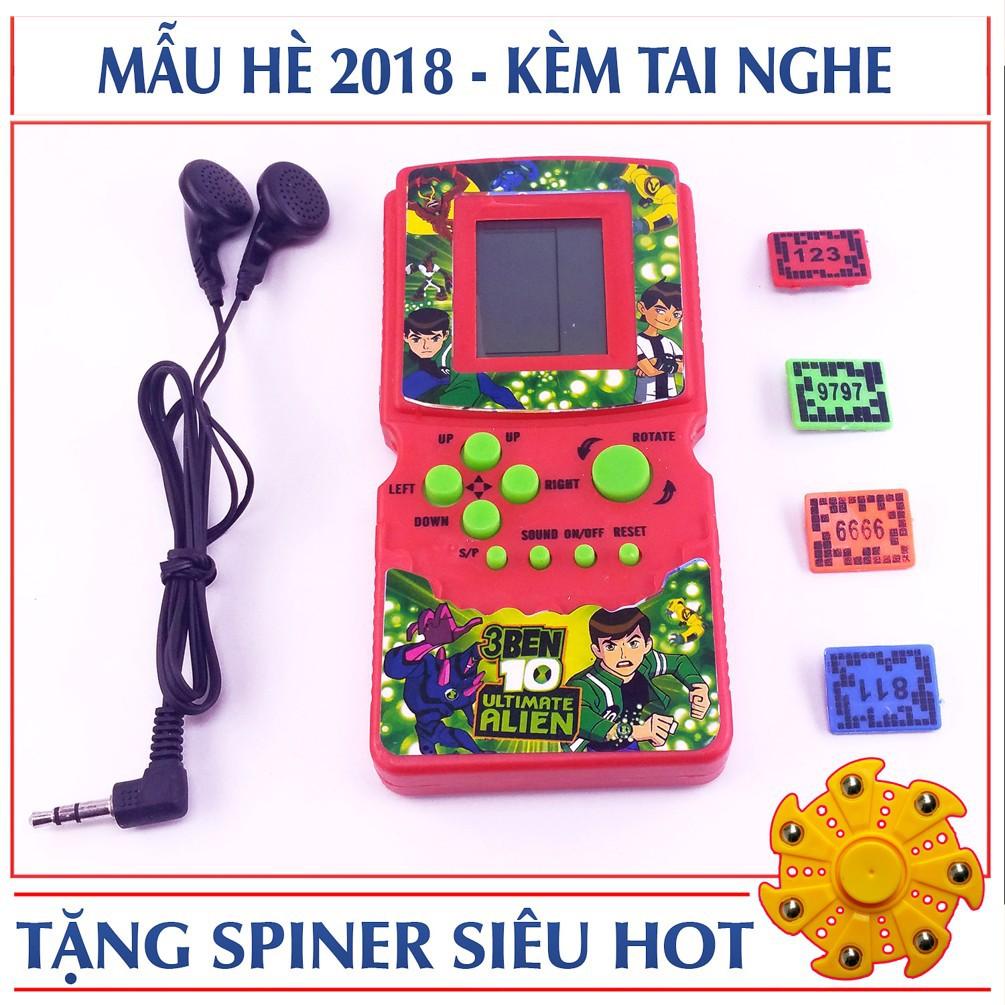 Máy chơi game xếp hình cầm tay Brick game 9999 in 1 + Tặng free con quay cao cấp spiner