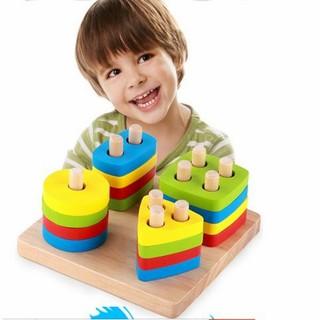 Đồ chơi Montessori xếp hình 4 cột cho bé học toán học