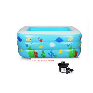Bể bơi bơm hơi Vuông sắc màu kích thước :150*105*55cm tặng kèm bơm điện