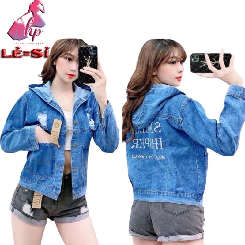 Áo Khoác Jeans Nữ có Nón Mũ Coton Cao Cấp  Phối Túi To Cào Rách Thêu Chữ Mẫu Mới-Hàng Có Sẵn bán giá sỉ
