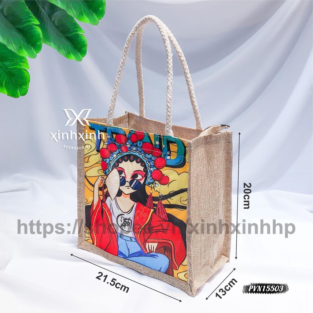 Túi tote cói đi biển mini XinhXinh Accessories phong cách Hàn Hottrend Hè 2021, túi vải thời trang