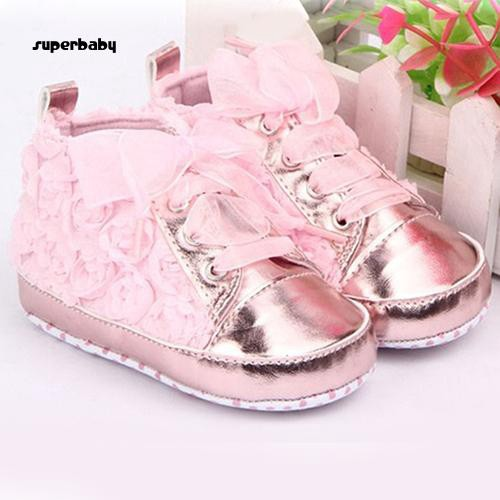 SBaby-Baby Girl Rose Flower Lace-up Non-slip Soft Sole Crib Sneaker Shoes Prewalker Boots