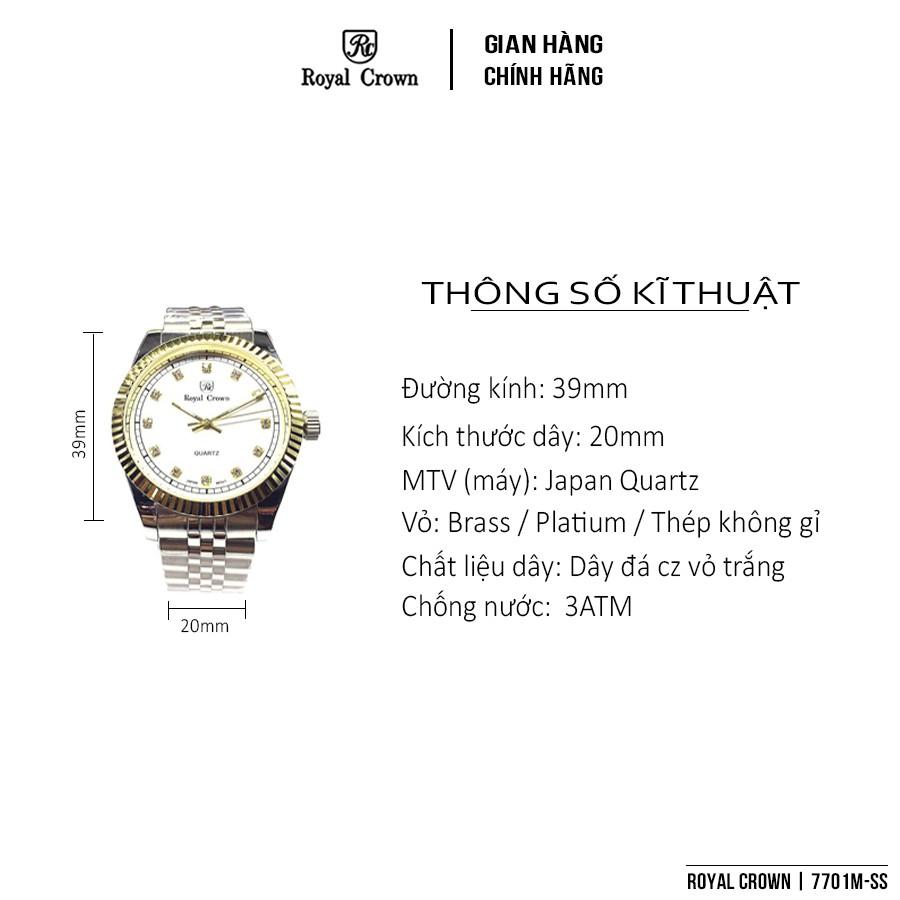 Đồng Hồ Nam Chính Hãng Royal Crown Italy 7701 Stainless Steel Watch