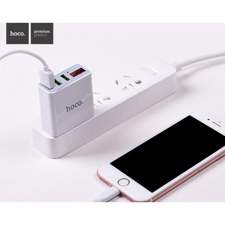 Củ Sạc 3 Cổng USB Hoco C15 Có Màn LED Hiển Thị Đo Dòng - Hàng Chính Hãng - Ổn Định Cho Iphone/IPad/Android