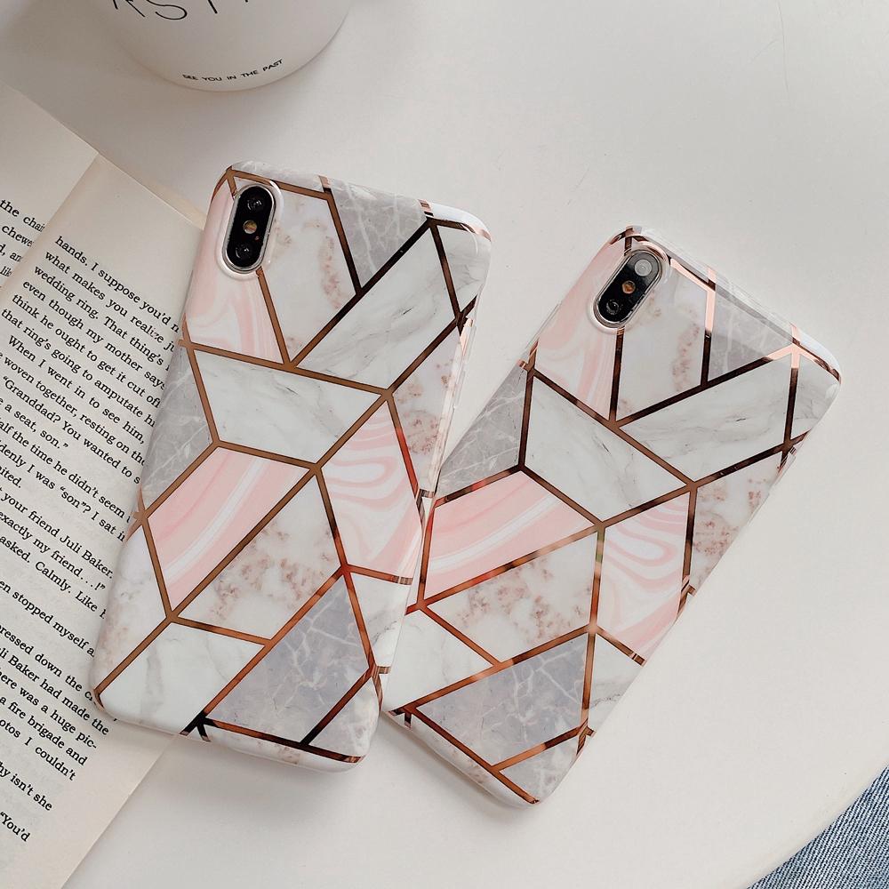 Ốp điện thoại silicon họa tiết hình học vân đá cho iPhone 6 6s 7 8 Plus X XS XR XS Max