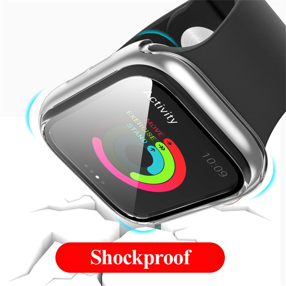 CHINK Full Cover Matte PC Case with Tempered Glass Screen Protector for Apple Watch Series 6 5 4 Watch 40mm 44mm
