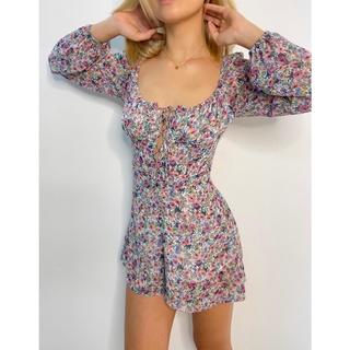 Nene Clothing - Playsuit hoa dài tay thumbnail