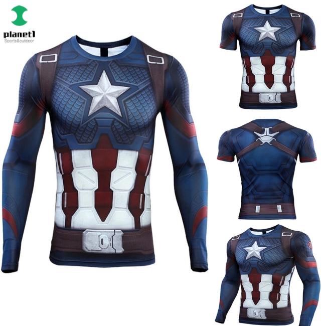 Áo thun hóa trang nhân vật Captain America Áo cổ trụ