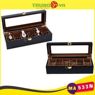 Hộp Đựng Đồng Hồ 6 Ngăn Vỏ Gỗ Sơn Mài Lót Nhung - Mã 533N thumbnail
