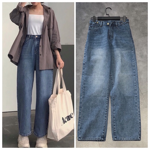 Quần Jeans Nữ Simple Jeans Lưng Cao Dáng Suông Ống Rộng Ulzzang ( Màu Đậm )