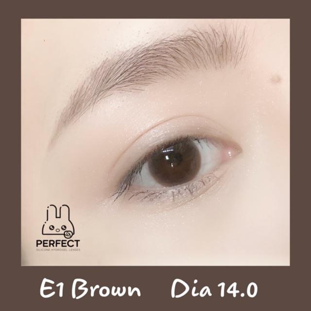(0.00-> 8.00) 14.0 [Giá 1 Đôi] Lens E1 Brown – Kính Áp Tròng