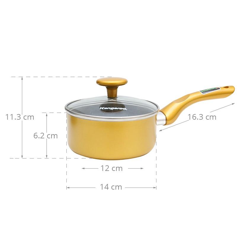 [KANG5 giảm 100K] Quánh nhôm chống dính vân đá 14 cm Kangaroo KG920 (Không dùng được với bếp từ)