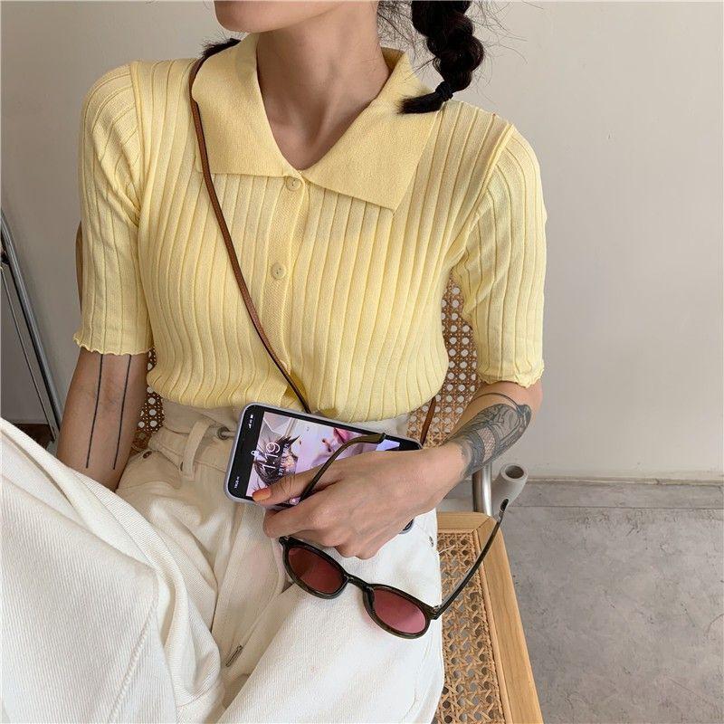 (ORDER) Áo len dệt kim sơ mi cộc tay mỏng nhẹ mùa hè style nữ sinh Hàn Quốc đáng yêu...