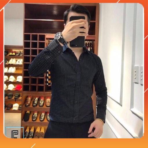 Áo sơ mi nam chấm bi korea dài tay cổ bẻ mặc siêu mềm mại và thoải mái, giá cả siêu tốt