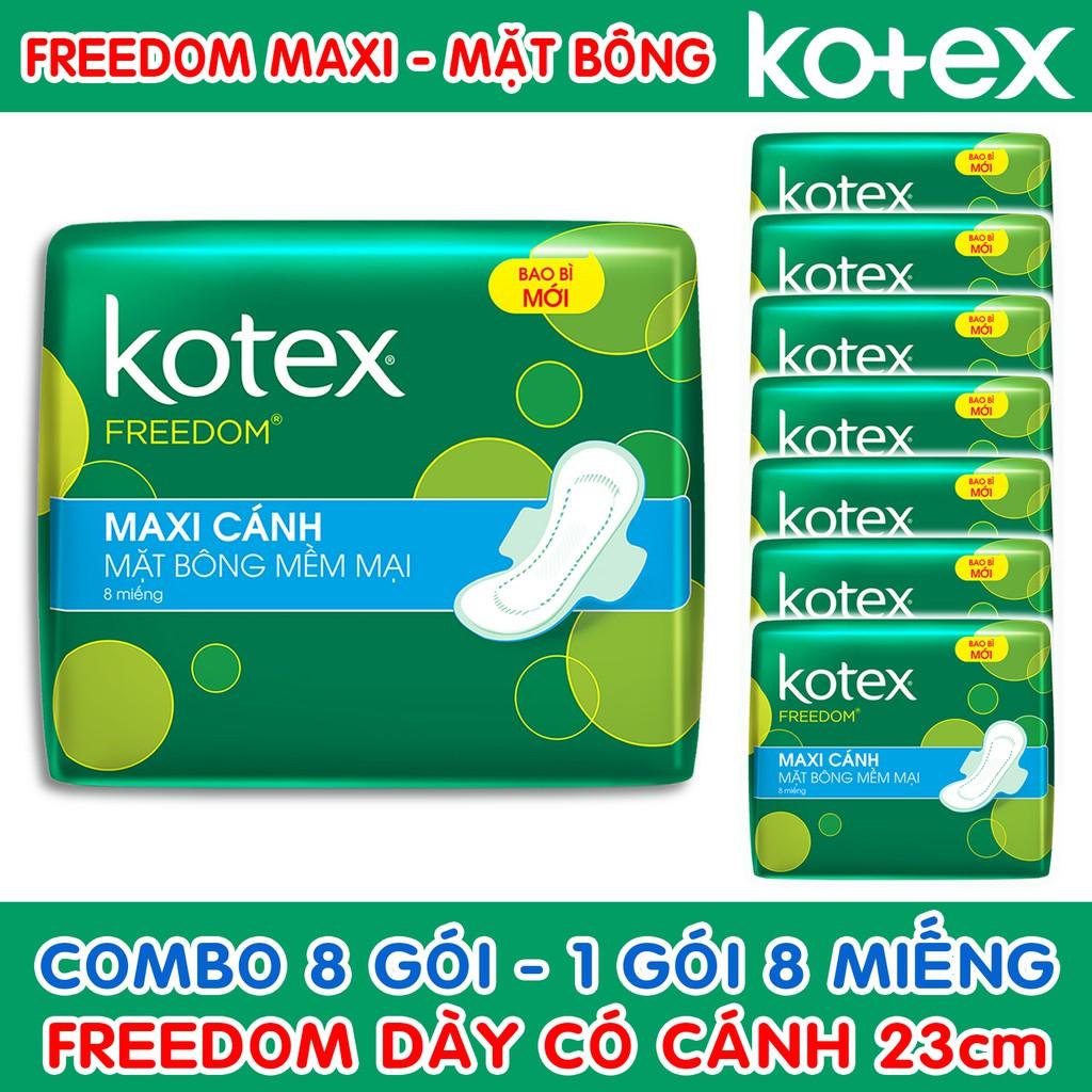 Combo 8 Gói Băng Vệ Sinh Kotex Freedom Maxi Dày Có Cánh Mặt Bông 23cm ( 1 Gói 8 Miếng - 1 Lốc 8 Gói )