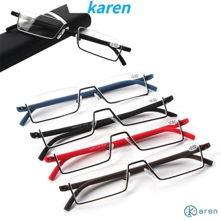 👗KAREN💍 Vision Care Reading Glasses Portable Semi Rimless Reader Eyeglasses TR90 with Case Ultralight Unisex Half Frame/Multicolor