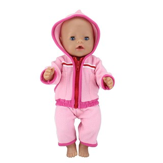 17 inch 43cm American doll xia fu doll pink plush suit clothes