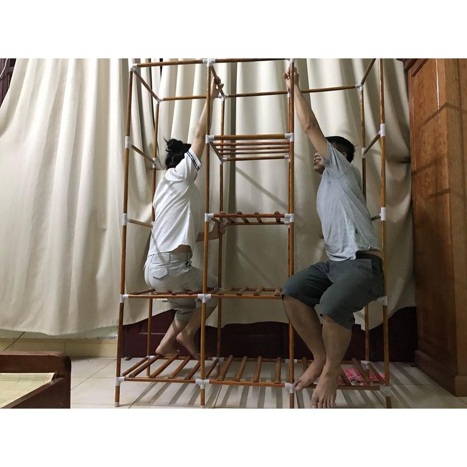 tủ kệ quần áo vải khung gỗ 3 buồng 7 ngăn đựng quần áo loại thường có bảo hành 24 tháng của tuvaicaocapvn
