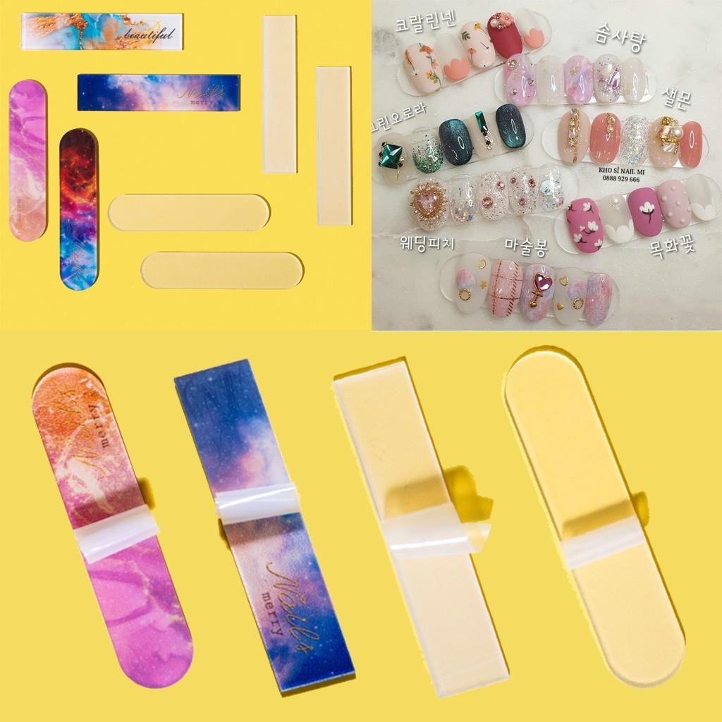 Set 10 thanh trưng bày mẫu nail Hàn Quốc đẹp - 1 thanh dán được 5 móng