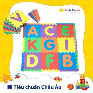 Thảm chơi cho bé – chữ cái + viền ngoài (26 miếng, kích thước 1,8mx1,5m) Smile Puzzle KHÔNG MÙI CHUẨN CHÂU ÂU