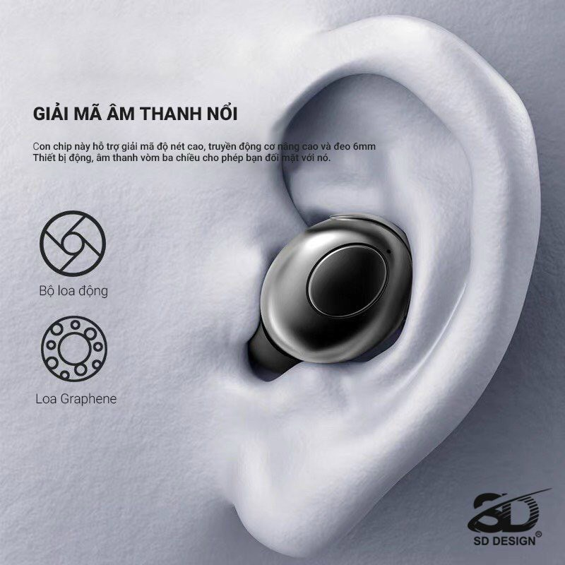 Tai Nghe Bluetooth Mini PH-68  Chính Hãng SD Design Chống Ồn Âm Thanh Hay Kiểu Dáng Độc - BẢO HÀNH CHÍNH HÃNG