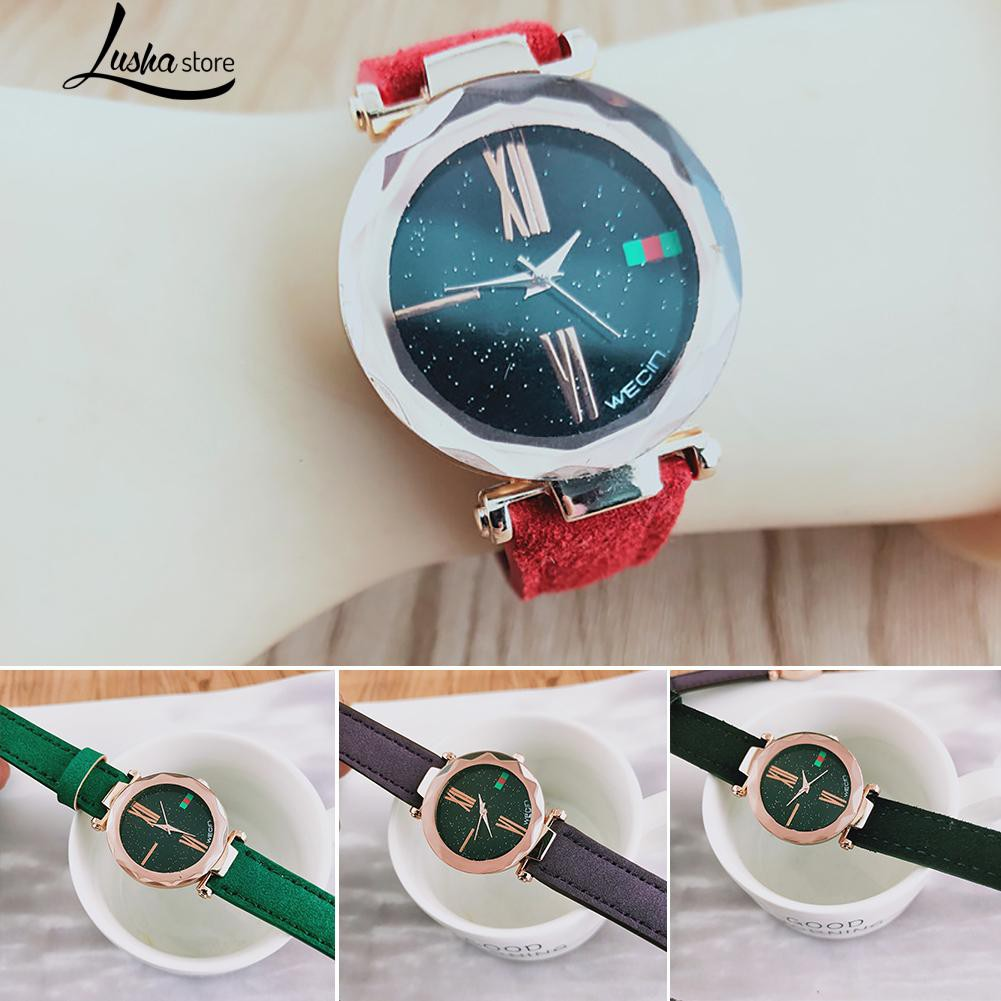 Lady Trendy Time Star Dial Pattern Faux Leather Band Quartz Watch