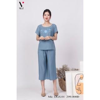 Bộ đồ mặc nhà trung niên Big Size Vicci DGS.01 áo cộc quần sớ, chất liệu đũi cao cấp thumbnail