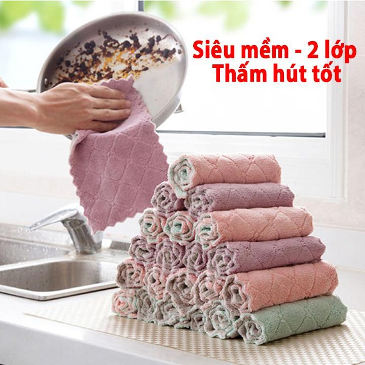 Khăn Lau Đa Năng 2 Lớp mềm mịn, thấm hút tốt,kháng khuẩn (lau bếp, bát đĩa, bàn ghế...)