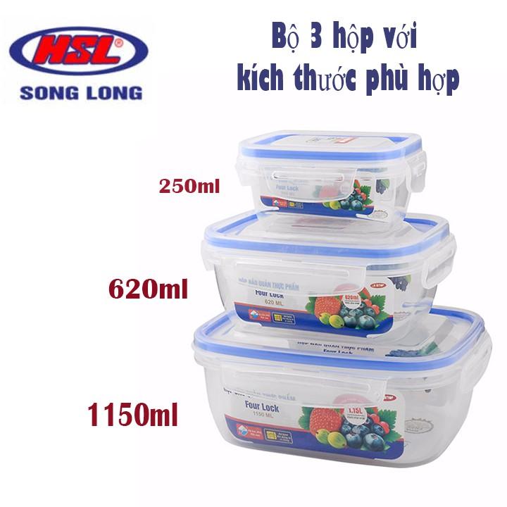 Set 3 hộp trữ đồ đông - hộp nhựa Song Long bảo quản thực phẩm luôn tươi ngon ( MS : 2508 ) - br00315