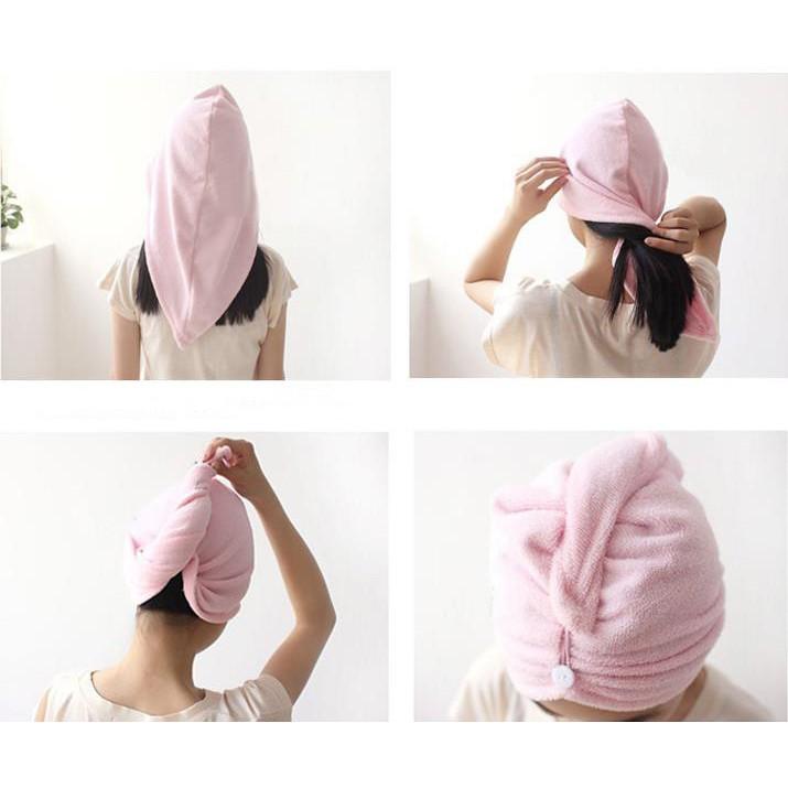 Khăn trùm đầu làm khô tóc dạng mũ , trùm đầu khi tắm