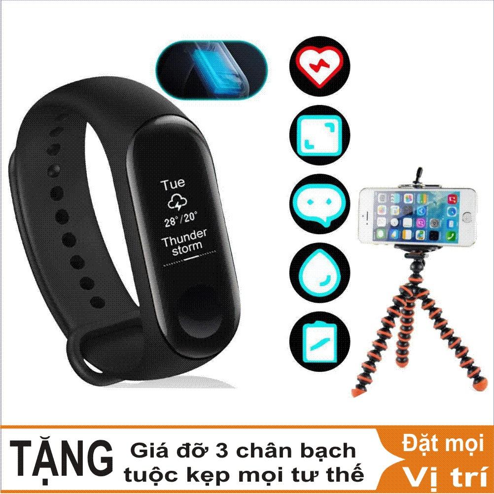 Combo Vòng đeo tay thông minh Xiaomi Mi Band 3, Miband3, Mi band3 (Đen) - Hàng chính hãng + Giá đỡ 3