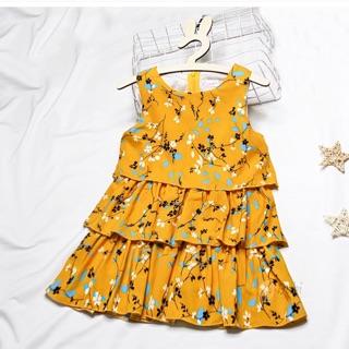 Đầm Xinh Cho Bé Gái Vải Lụa Hoa, Xếp Tầng