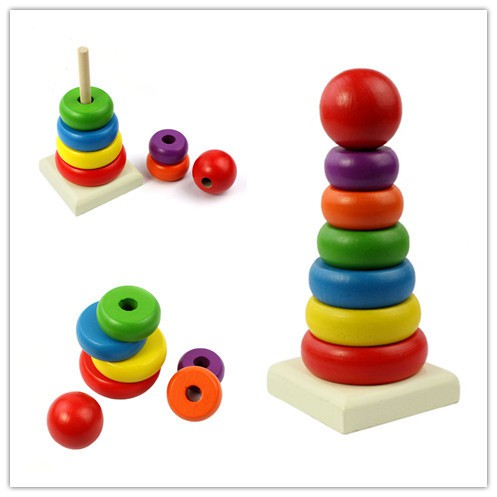 DHS Bộ đồ chơi rainbow tower cho bé