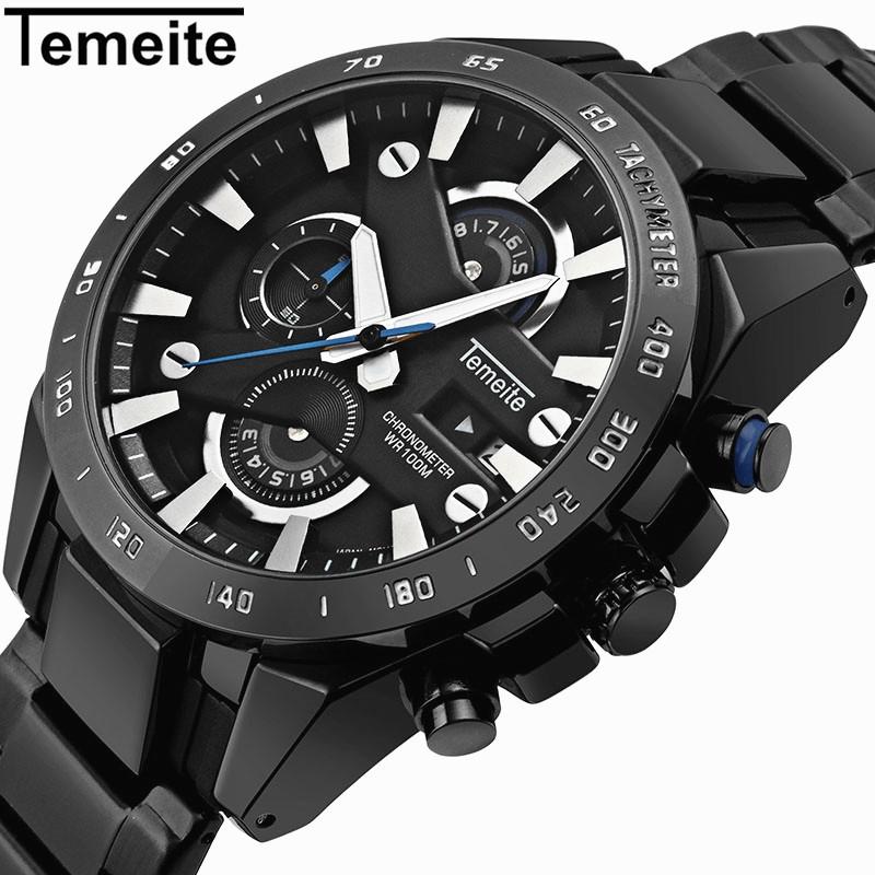 Temeite 006G Men Watch Sport Waterproof Luxury Quartz 6 Pointer Chronograph Date
